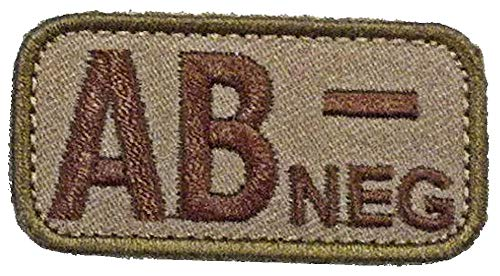 Blood Type Patches - Mil-Spec Monkey DESERT/TAN (AB- NEGATIVE)