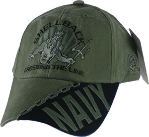 "Navy Shellback ""Crossing the Line"" OD Green Low Profile Cap"
