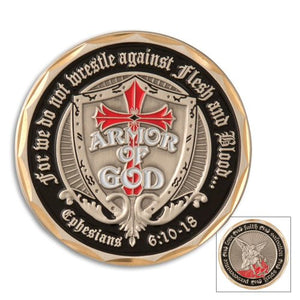 Armor of God Shield St. Michael Challenge Coin