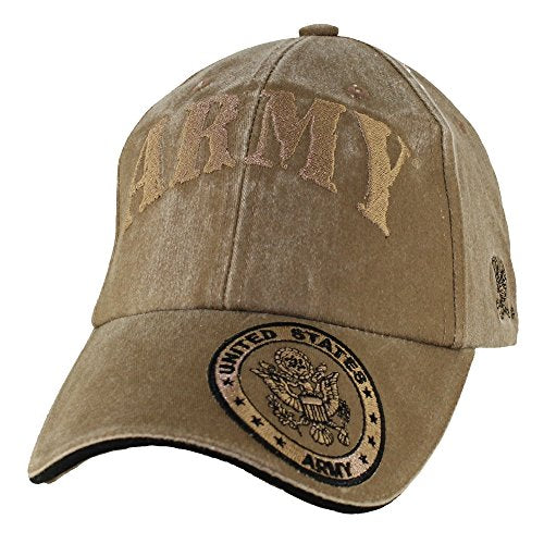 Eagle Crest U.S. Army With Seal On Bill Baseball Hat, Washed Coyote Brown