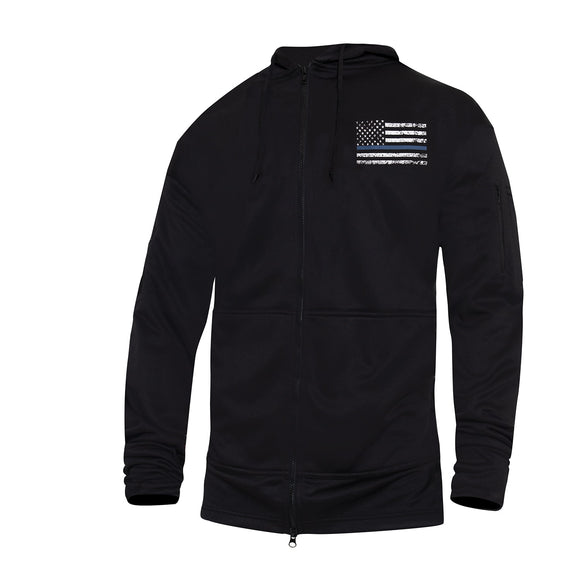 Rothco Thin Blue Line Concealed Carry Zippered Hoodie - Black