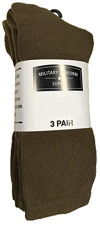 Military Style Men's Anti-Microbial Boot Socks - COYOTE BROWN - 3 PAIR