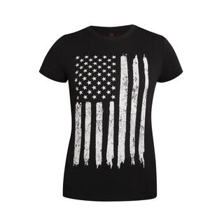 Women's Distressed US Flag Long T-Shirt