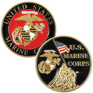"Marines Challenge Coin - Iwo Jima Colorized with Raised Details (1-5/8"")"