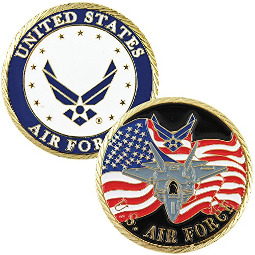 Air Force Military Branch Challenge Coin - Colorized with Raised Details