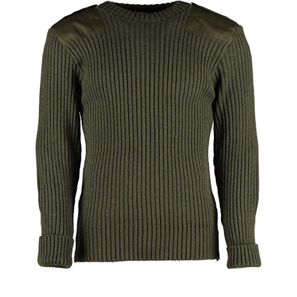 British Commando Sweater Woolly Pully CREW Neck with Epaulets - Various Colors