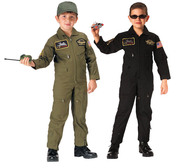 Kid's Flight Coverall With Patches - Various Colors