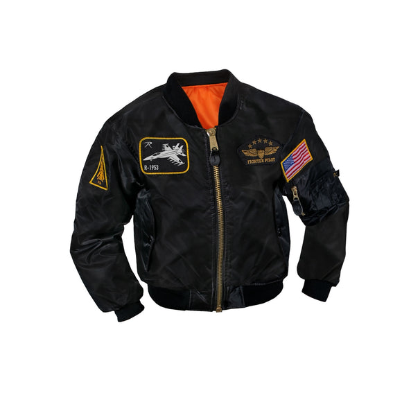 Rothco Kids Flight Jacket With Patches Black
