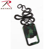 Rothco Dog Tag Bottle Opener With Chain Woodland Camo