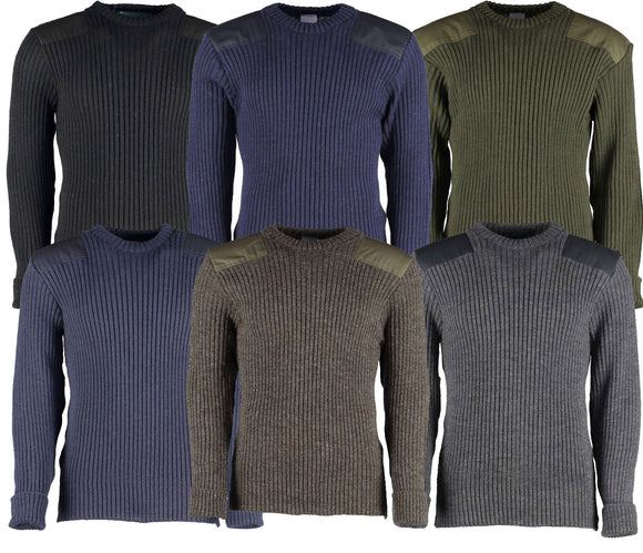 British Commando Sweater Woolly Pully CREW Neck - Various Colors