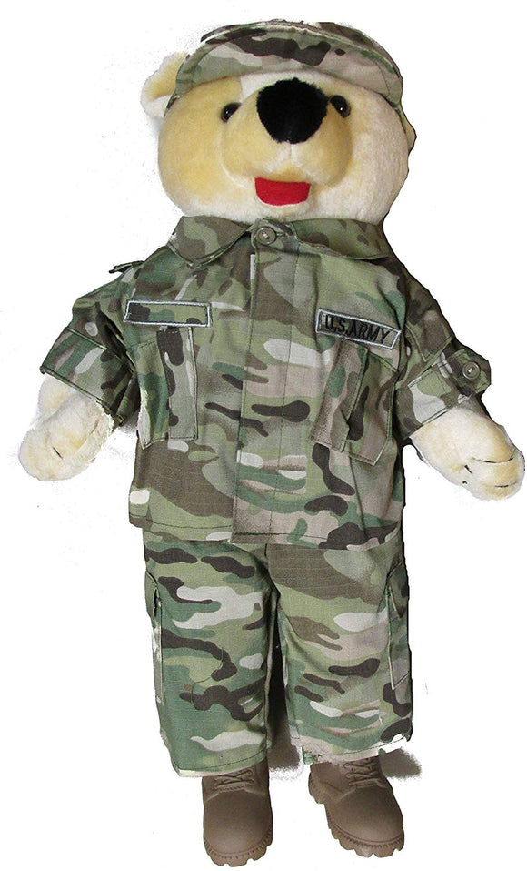 Large 19 Inch Stuffed Plush Teddy Bear in Military Multicam Uniform