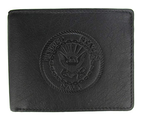 U.S. Navy Crest Bi-Fold Leather Wallet