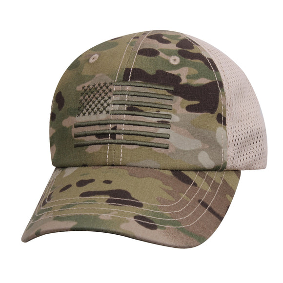 Rothco Tactical Mesh Back Cap With Embroidered US Flag Multicam