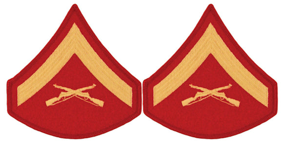 USMC Chevrons - GOLD on RED