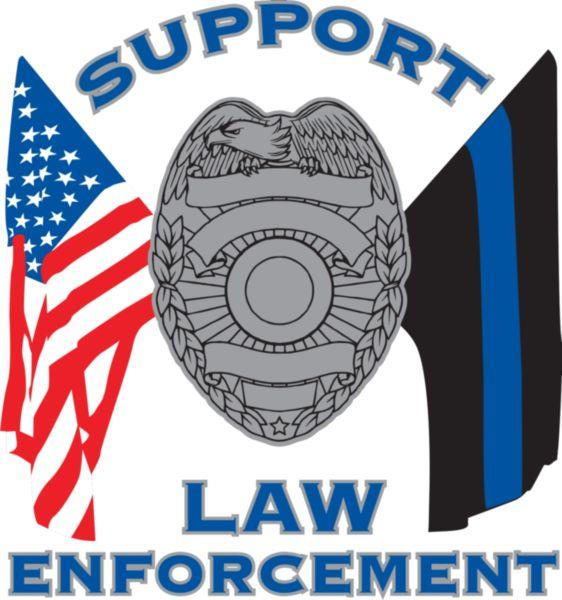 Support Law Enforcement Blue Line American Flag Decal