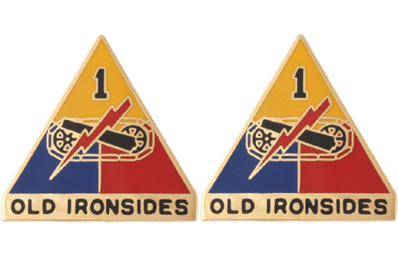 1st Armored Division Distinctive Unit Insignia - Pair - Old Ironsides