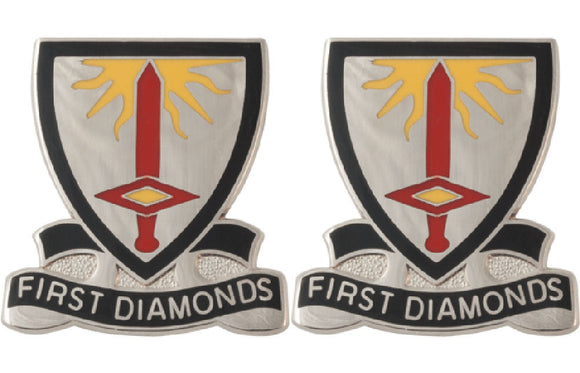 1st Finance Battalion Distinctive Unit Insignia - Pair - FIRST DIAMONDS