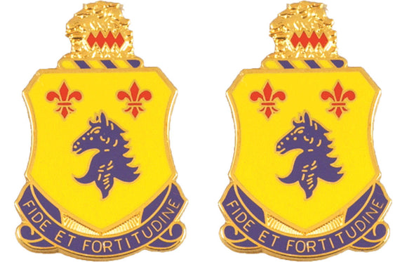 102nd Armor New Jersey Distinctive Unit Insignia - Pair - FIDE ET FORTITUOINE