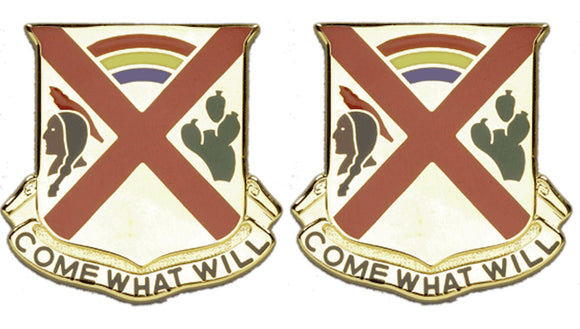 108th Cavalry Distinctive Unit Insignia - Pair - COME WHAT WILL