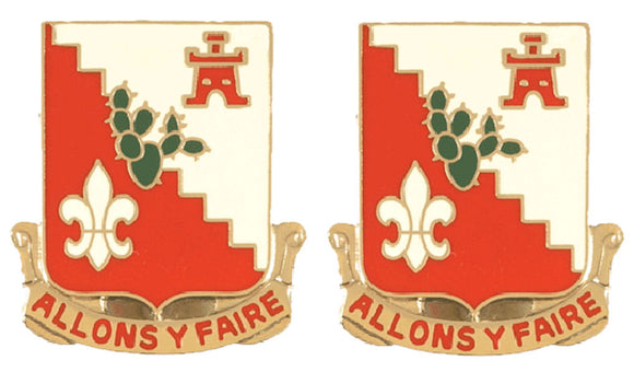 109th Engineering Battalion Distinctive Unit Insignia - Pair - ALLONS Y FAIRE