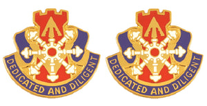 111th Engineering Distinctive Unit Insignia - Pair - DEDICATED AND DILIGENT