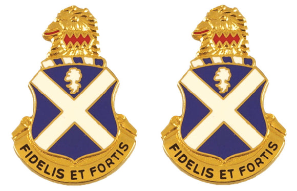 113th Infantry Distinctive Unit Insignia - Pair - FIDELIS ET FORTIS