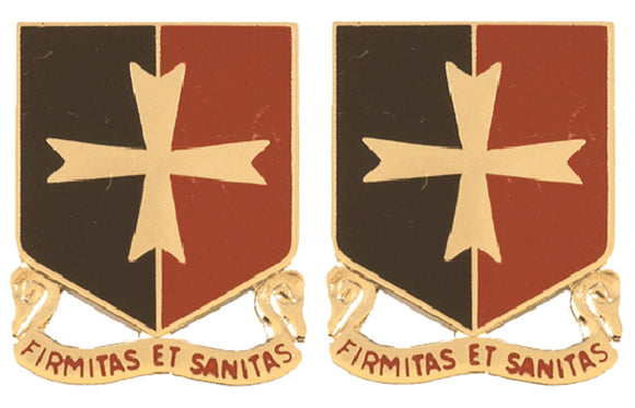 113th Support Battalion Distinctive Unit Insignia - Pair - FIRMITAS ET SANITAS