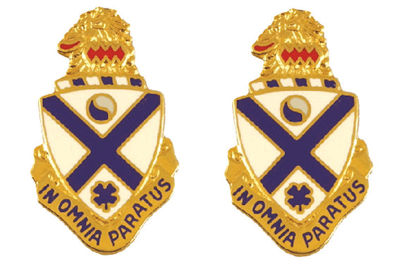 114th Infantry Distinctive Unit Insignia - Pair - IN OMNIA PARATUS