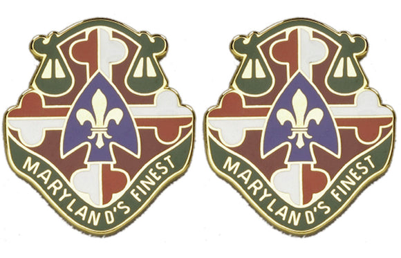 115th Military Police MP Battalion Distinctive Unit Insignia - Pair - MARYLAND'S FINEST