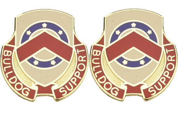 125th SUPPORT BATTALION Distinctive Unit Insignia - Pair - BULLDOG SUPPORT