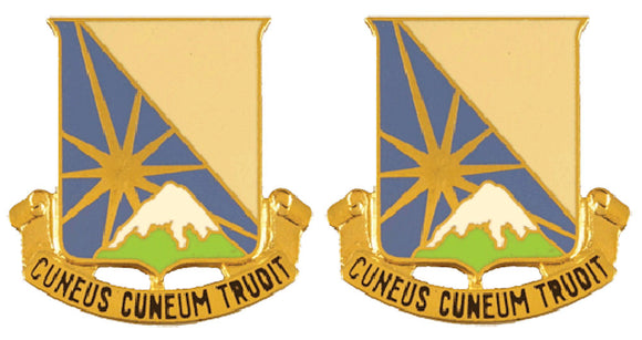 129th SUPPORT BATTALION Distinctive Unit Insignia - Pair - CUNEUS CUNEUM TRUDIT