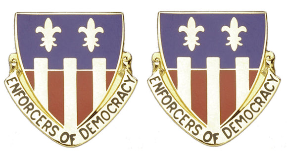 168th Quartermaster Nebraska Distinctive Unit Insignia - Pair - ENFORCERS OF DEMOCRACY