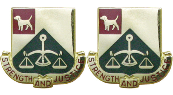 175th Military Police MP Battalion Distinctive Unit Insignia - Pair - STRENGTH AND JUSTICE