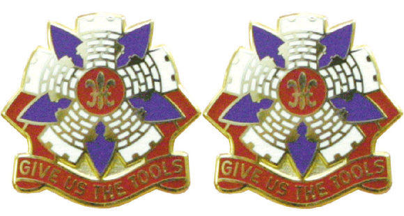 192nd Engineering Connecticut Distinctive Unit Insignia - Pair - GIVE US THE TOOLS