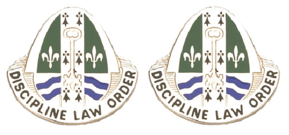 204th Military Police MP Battalion Distinctive Unit Insignia - Pair - DISCIPLINE LAW ORDER