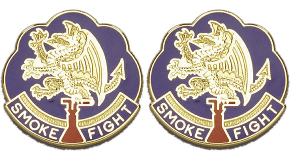 490th CHEMICAL BATTALION Distinctive Unit Insignia - Pair - SMOKE FIGHT