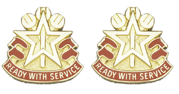 519th MAINTENANCE BATTALION Distinctive Unit Insignia - Pair - READY WITH SERVICE