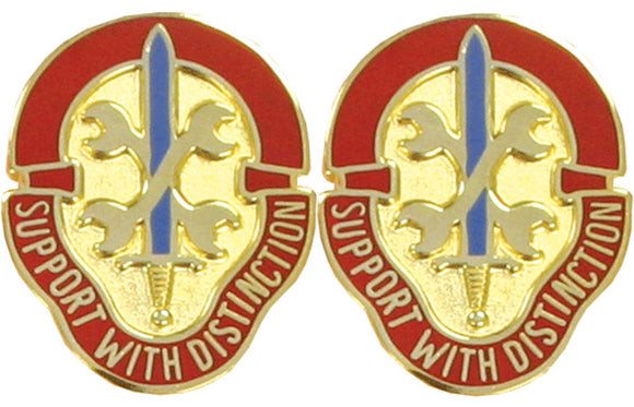 521st MAINTENANCE BATTALION USAR Distinctive Unit Insignia - Pair - SUPPORT WITH DISTINCTION
