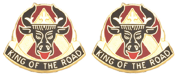 812th TRANSPORTATION BATTALION Distinctive Unit Insignia - Pair - KING OF THE ROAD