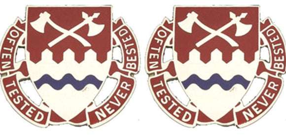 1140th ENGINEER Distinctive Unit Insignia - Pair - OFTEN TESTED NEVER BESTED