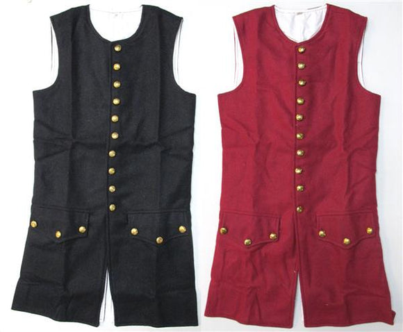 18th Century Waist Coat Wool LONG STYLE - Revolutionary War Era