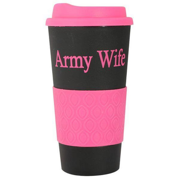 Army Wife Grip N Go Mug - Black/Pink