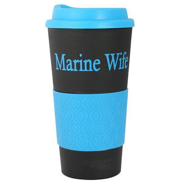 Marine Wife Grip N Go Mug - Black/Blue