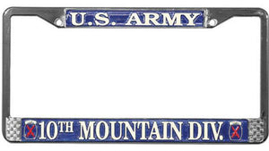 U.S. Army 10th Mountain Division Metal License Plate Frame