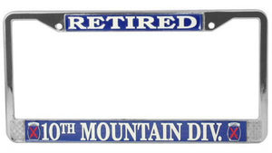 U.S. Army 10th Mountain Divisions - Retired Metal License Plate Frame
