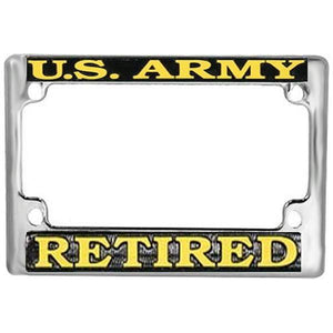 U.S. Army Retired Chrome Metal Motorcycle License Plate Frame