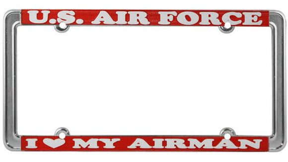 U.S. Air Force - I Love My Airman Thin Rim License Plate Frame
