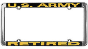 Retired U.S. Army Thin Rim License Plate Frame