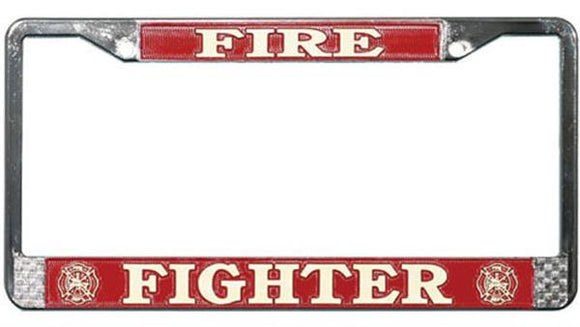 Fire Fighter Metal License Plate Frame