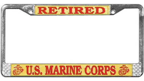 Retired - U.S. Marine Corps Metal License Plate Frame